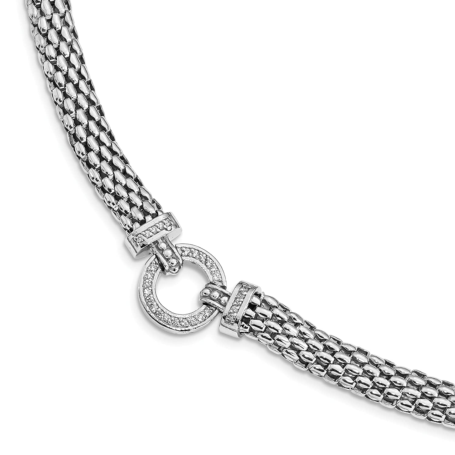 Bracelet 925 Sterling Silver Rhodium-Plated Polished Cubic Zirconia Mesh 7.5 to 17.75in Link Necklace