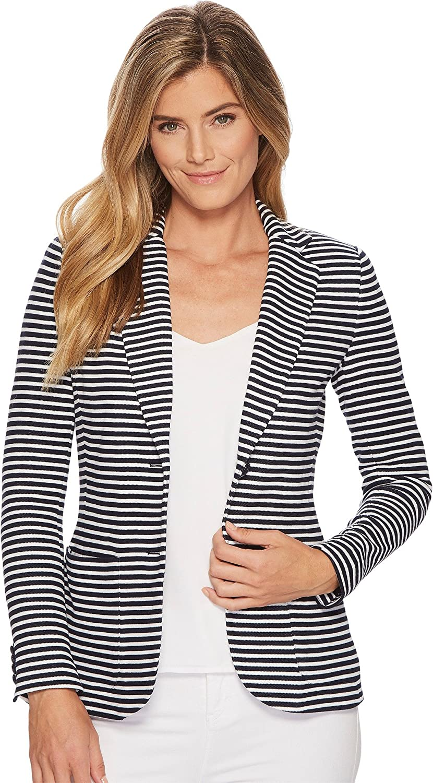 de81b0cf3 Lauren by Ralph Lauren Women's Striped Knit Cotton Jacket Navy/White ...