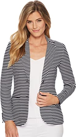 9b2144029 Lauren by Ralph Lauren Women s Striped Knit Cotton Jacket Navy White X-Large