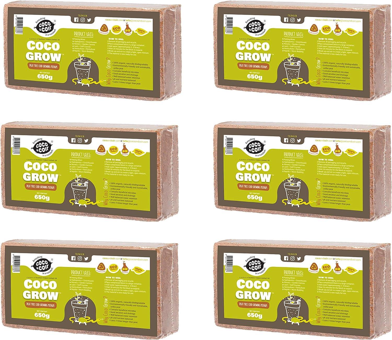 Fibra DE Coco 6 x 650g (9L) | ORGÁNICO | 100% Natural | NO DAÑINA para Reptiles | Medio DE Cultivo | Coco para PLANTACIONES | SUSTRATO DE Coco | BRIQUETAS COMPRIMIDAS DE Coco Ladrillos Coconut & C
