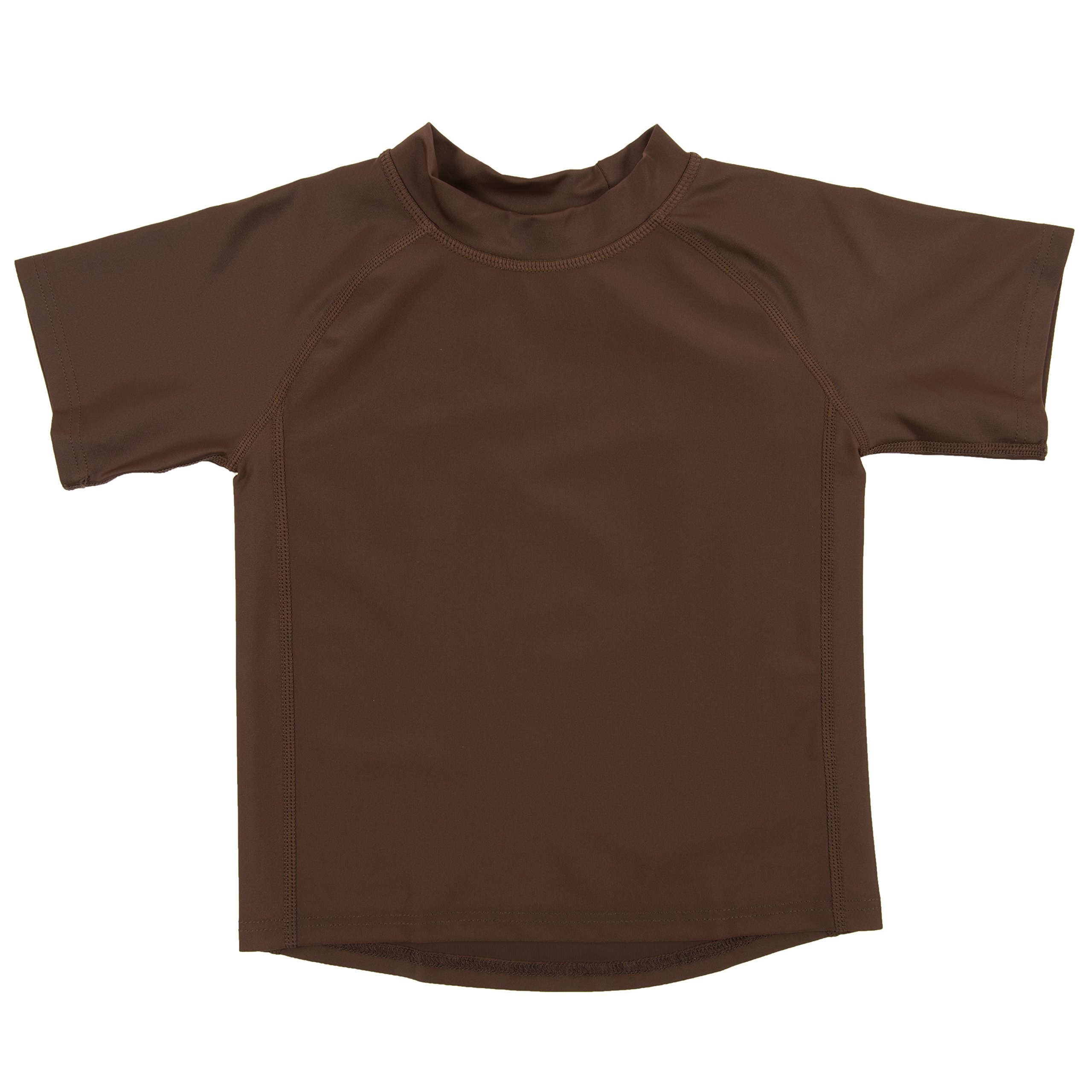 Leveret Short Sleeve Rash Guard (3 Toddler, Brown)