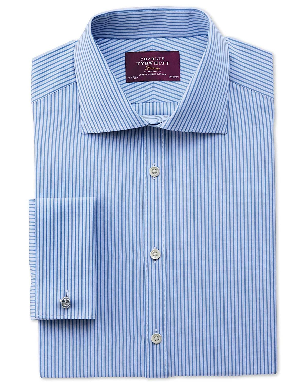 Charles Tyrwhitt Extra slim fit semi-cutaway collar luxury poplin stripe sky blue shirt