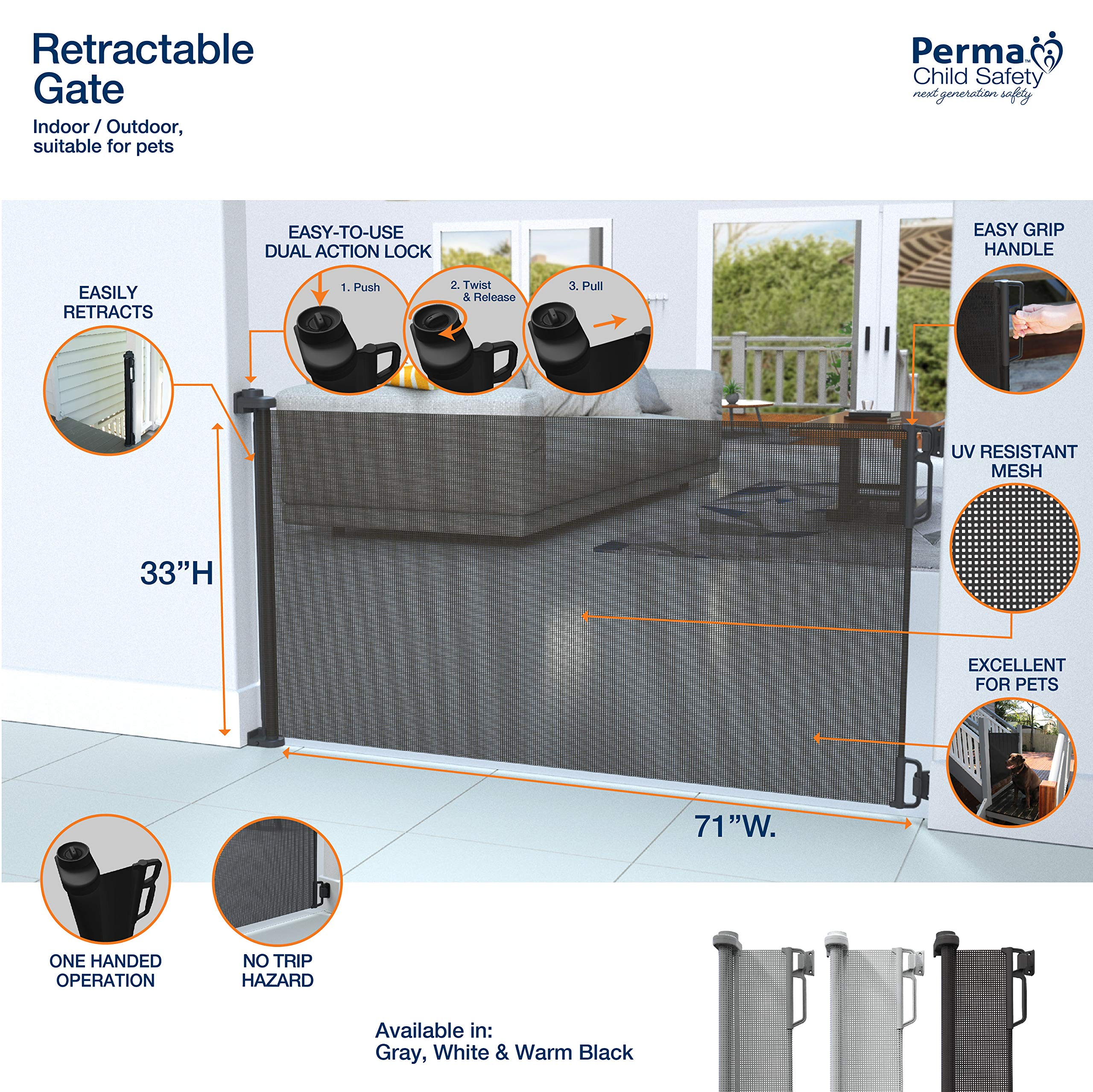 """Perma Child Safety Outdoor Retractable Baby Gate, Extra Wide up to 71"""", Black by Perma Child Safety (Image #3)"""