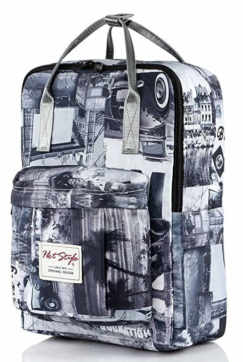 HotStyle Fashion Printed  Bestie Vintage London Backpack Daypack for  School Girls, Grey  Amazon.ca  Luggage   Bags 9973dedfee