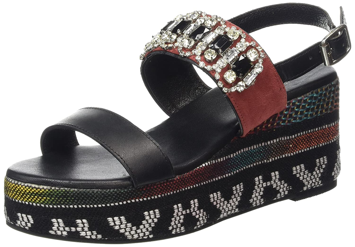 Sandals Femme Strass Wedge with Ethnic Sandales TANTRA 1WYqExC