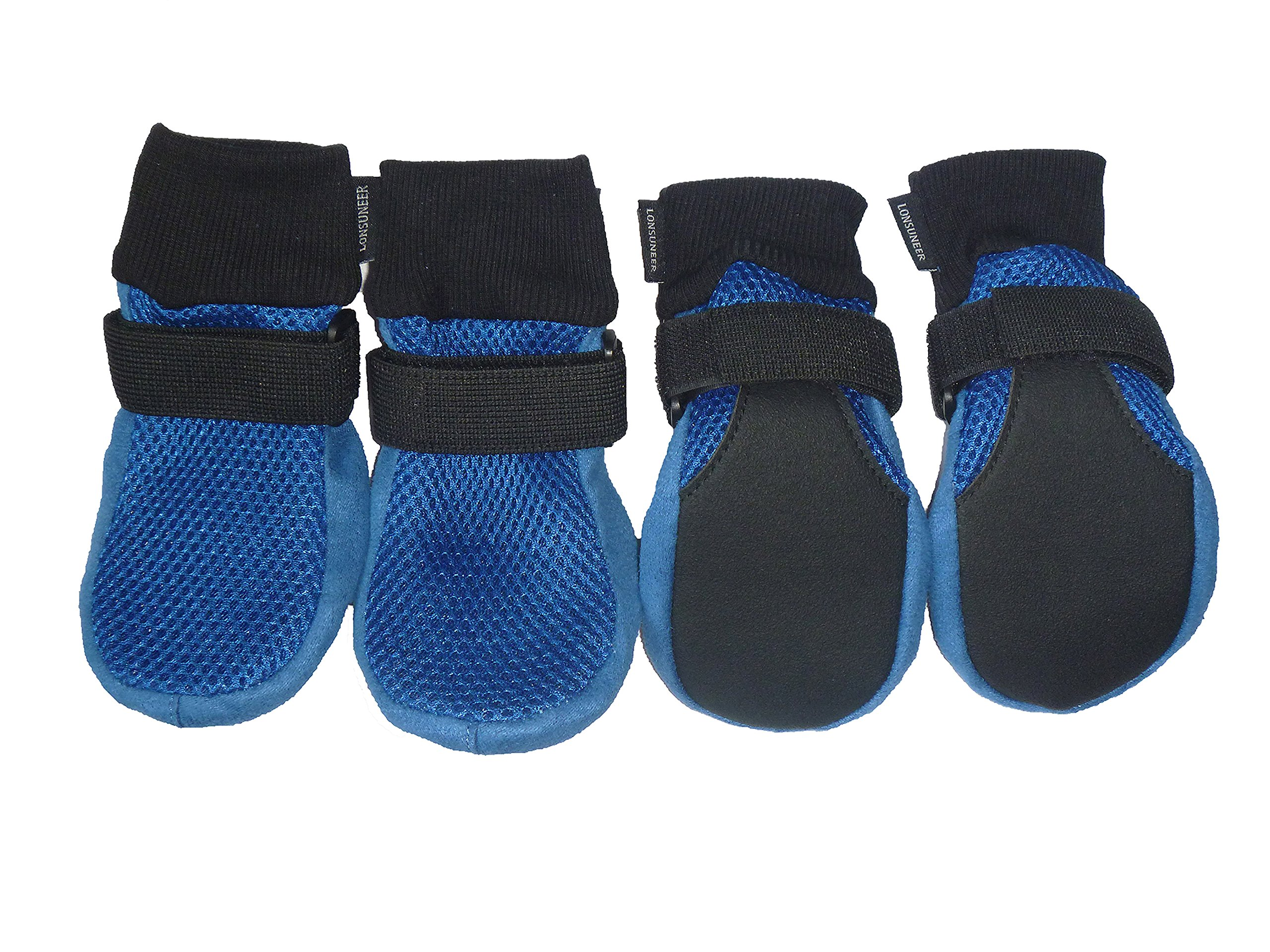 LONSUNEER Dog Boots Breathable and Protect Paws Soft Nonslip Soles Blue Color Size Large - Inner Sole Width 2.83 Inch