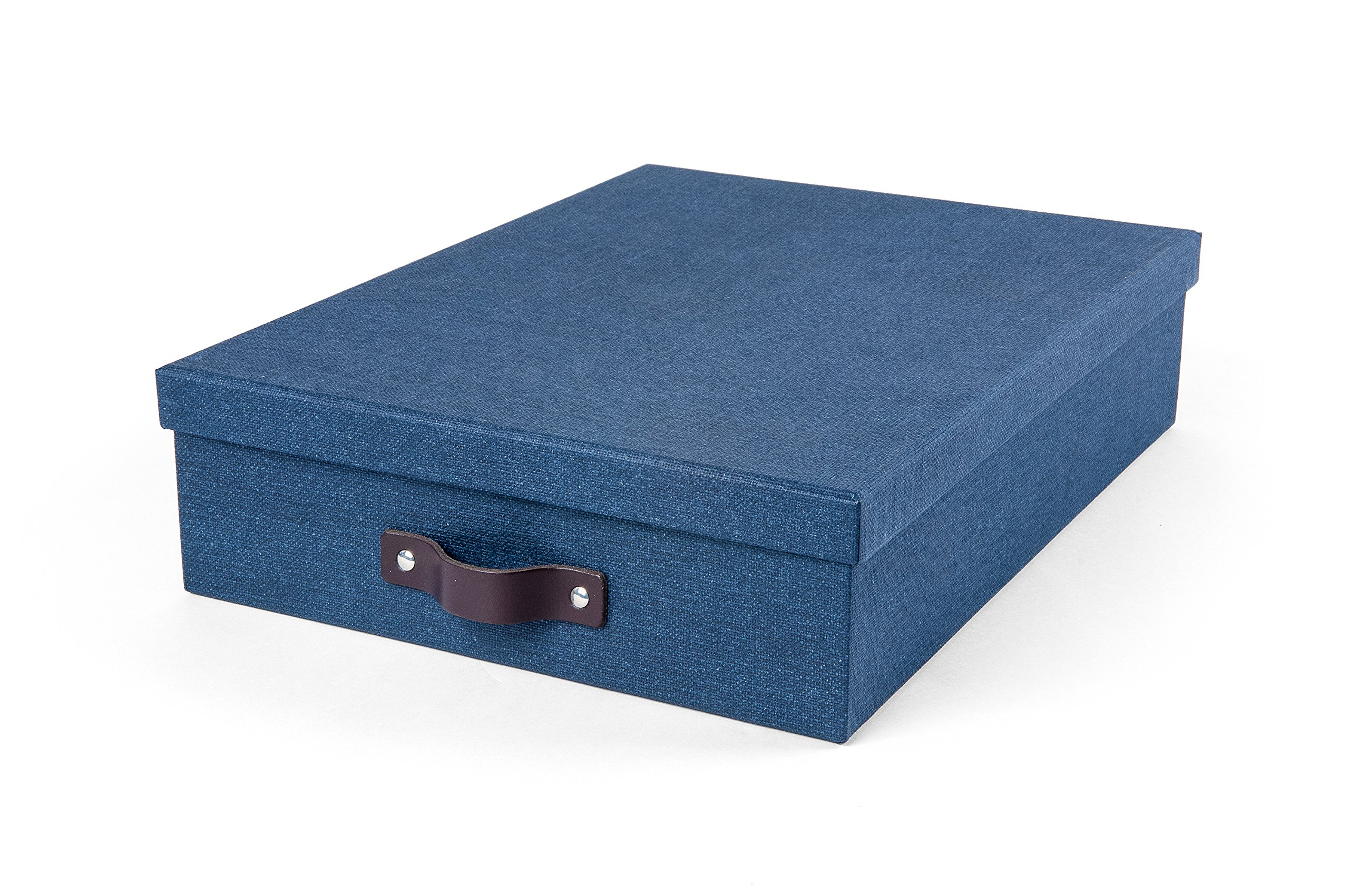 Bigso 9451C38 Oskar Canvas Paper Laminate Letter Storage Box, Blue