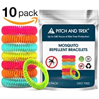 Pitch and Trek® - Mosquito Repellent Bracelet 10 PACK - Fits All - Citronella All Natural DEET Free Anti Insect Bands - KEEP AWAY MIDGES - Waterproof Outdoor Bug Repeller Wristbands Safe For Children