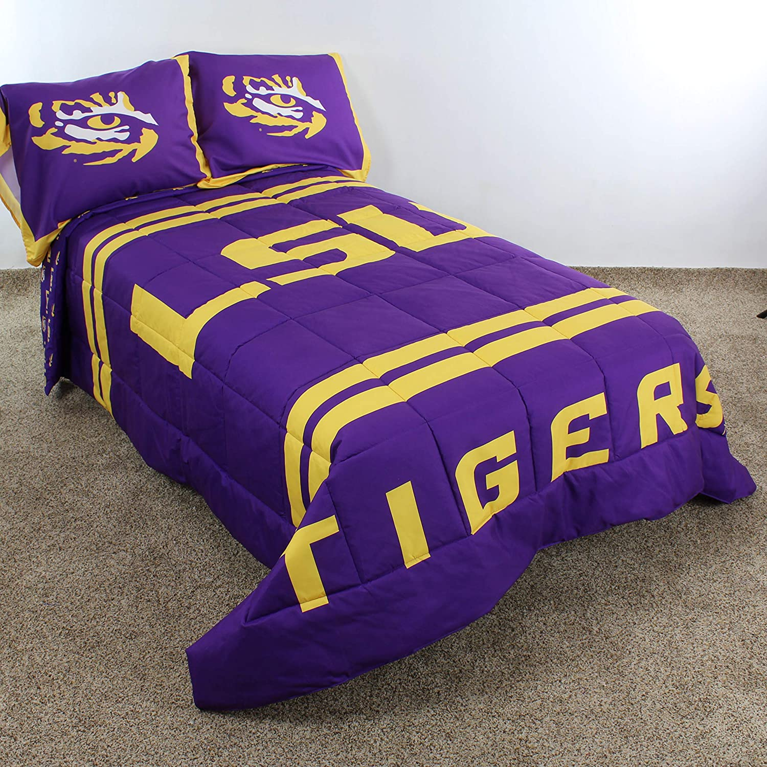 Amazon Com College Covers Lsu Tigers Comforter Set Queen Team Color