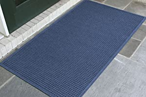 WaterHog Fashion Commercial-Grade Entrance Mat, Indoor/Outdoor Charcoal Floor Mat 5' Length x 3' Width, Navy by M+A Matting