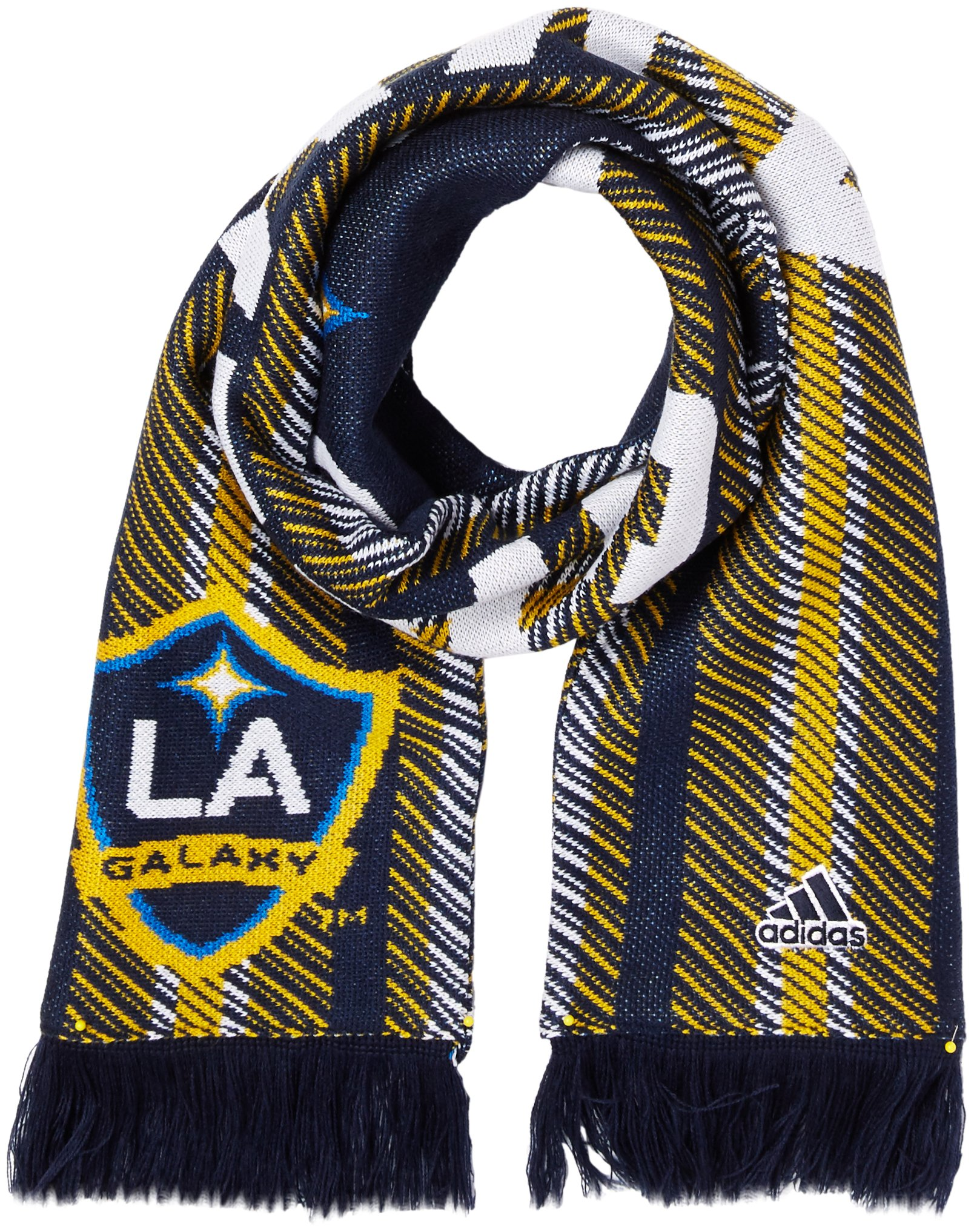 adidas MLS Los Angeles Galaxy Jacquard Scarf with Block Name, One Size, Navy