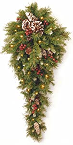 National Tree Company Pre-lit Artificial Christmas Teardrop | Flocked with Mixed Decorations and LED Lights | Frosted Berry - 3 ft