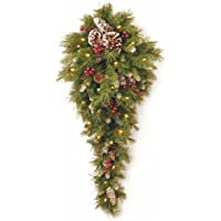 National Tree Company National Tree 3 Foot Frosted Berry Teardrop with 50 Warm White Battery Operated LED Lights (FRB…