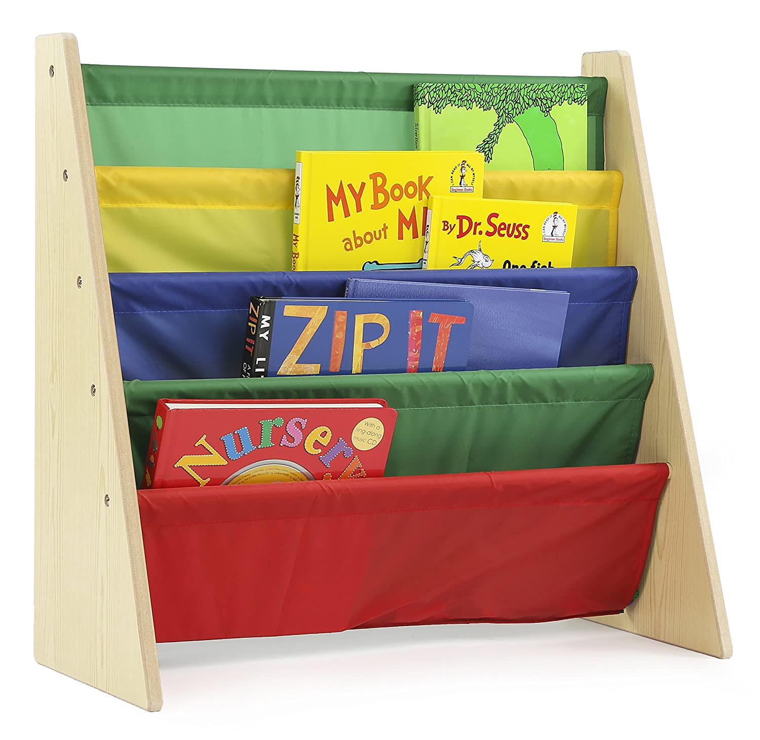 Classroom bookshelf book rack with pockets