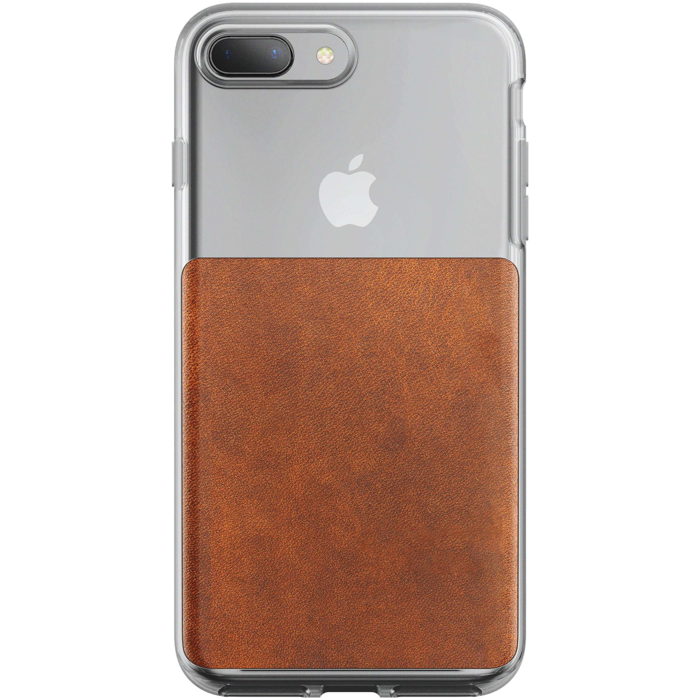 Nomad iPhone 7 Plus/8 Plus Clear Case w/ Rustic Brown Leather - Edge-to-Edge Protection - Wireless Charging Compatible
