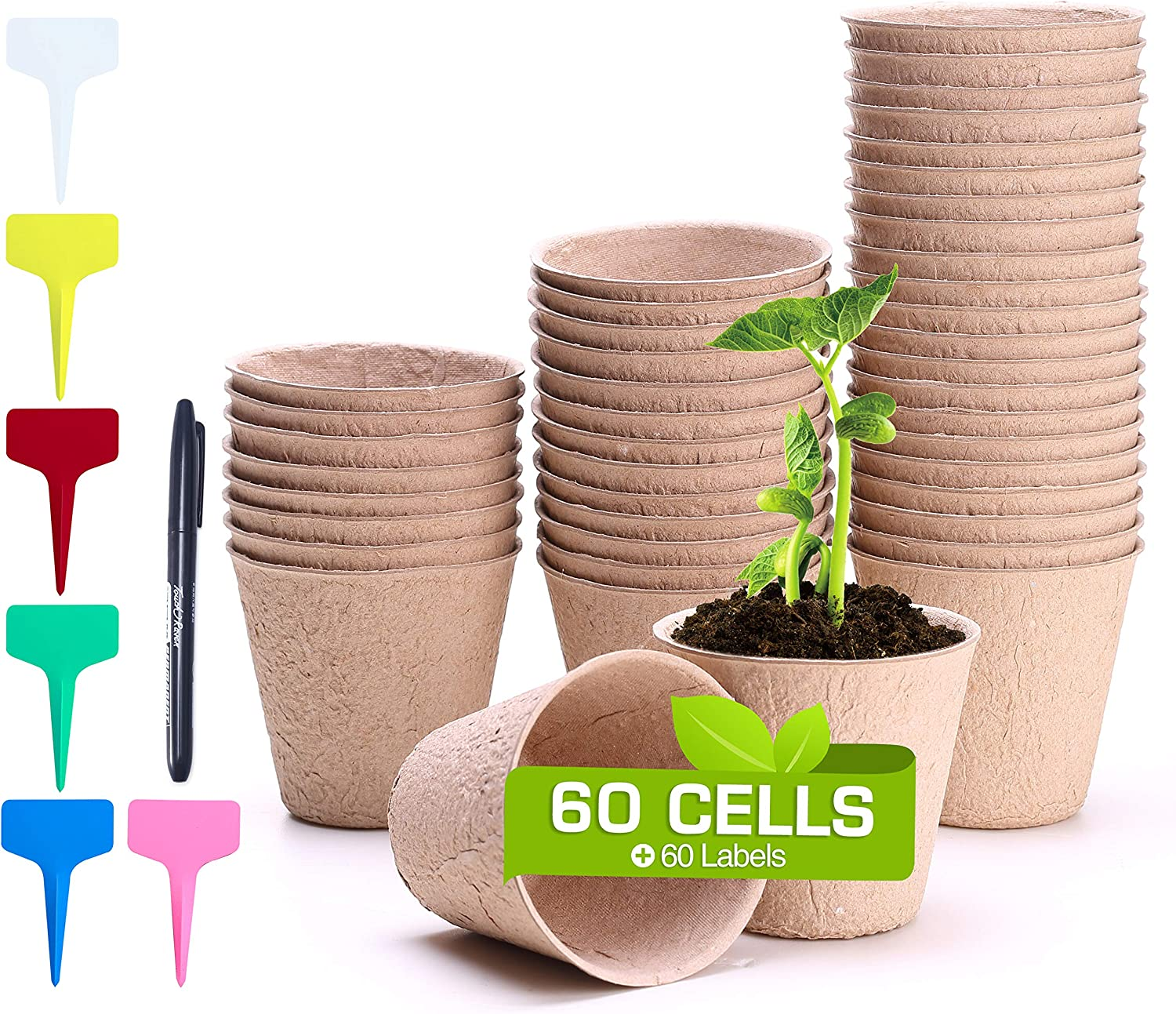 Seed Starter Pots, FANGZHIDI 60 Pack 3 Inches Garden Seedling Plant Peat Cup, 100% Eco-Friendly Organic Biodegradable Germination Pulp Nursery Planter, Indoor/Outdoor, 60 Labels and 1 Mark Pen