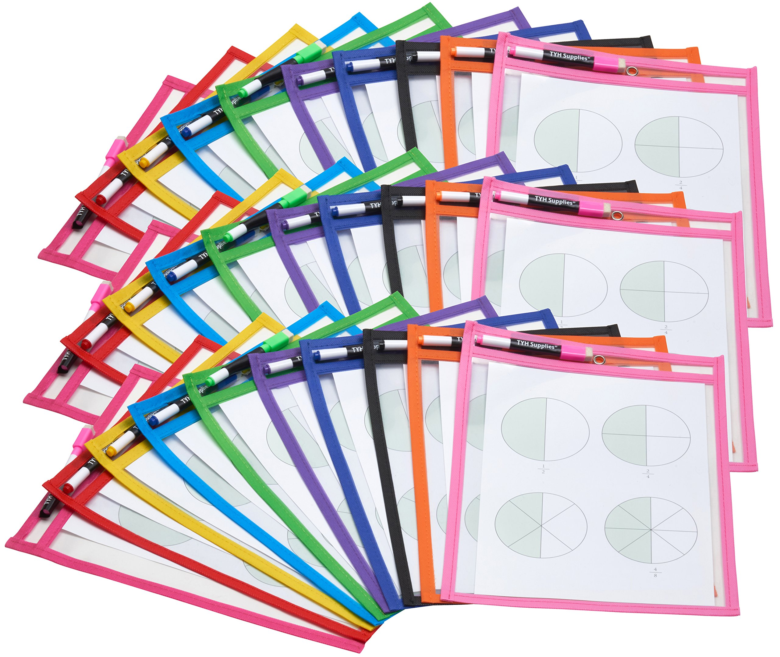 TYH Supplies Set of 30 Reusable Dry Erase Pockets, 9 x 12 Inches, Assorted Neon Colors