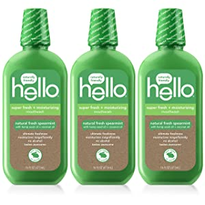 Hello Extra Freshening + Moisturizing Spearmint Mouthwash with Hemp Seed Oil + Coconut Oil, 3 Count | Alcohol Free