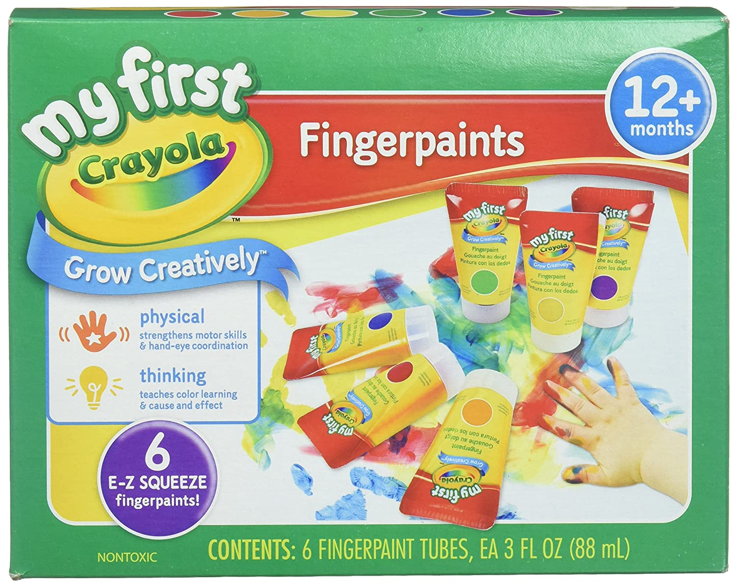 Crayola; My First Fingerpaint Kit; Art Tools; 6 Different Colored Tubes of Paint; Washable