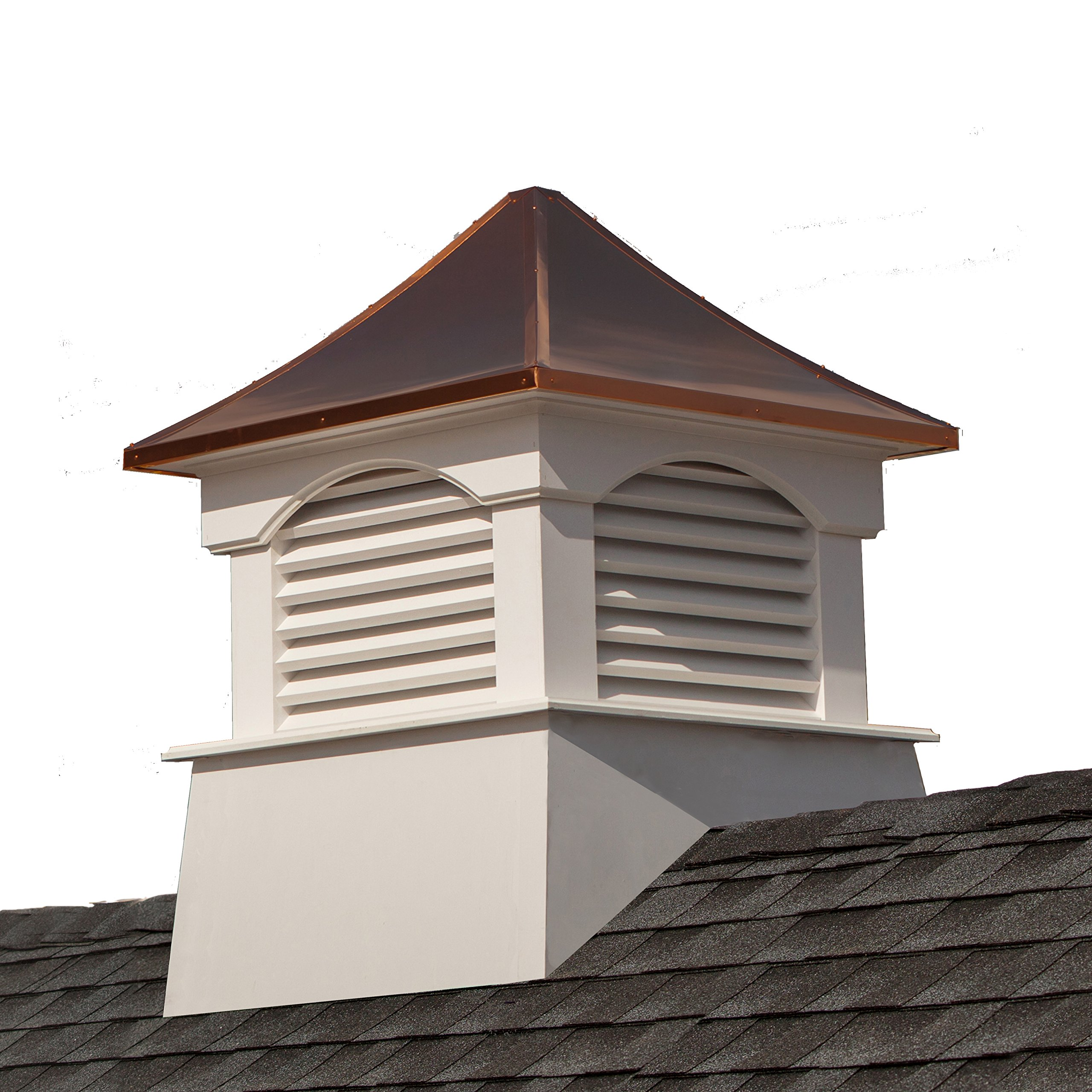 Good Directions Vinyl Coventry Louvered Cupola with Pure Copper Roof,  Maintenance Free Solid Cellular PVC Vinyl, 42'' x 57'', Reinforced Roof and Louvers, Cupolas by Good Directions