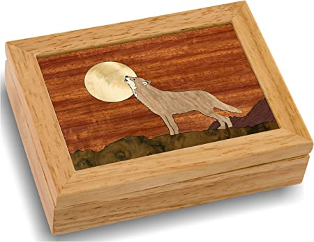 Wooden Wolf Box