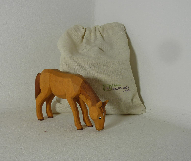 Pferd grasend grasend Pferd braun Lotte Sievers-Hahn 7,0 cm mit Baumwollbeutel Krippenfigur d46d75