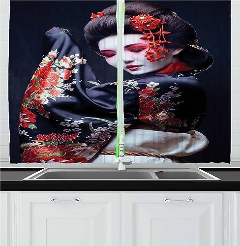 Lunarable Japan Kitchen Curtains, Young Geisha in Kimono with Sakura Traditional Oriental Costume Makeup, Window Drapes 2 Panel Set for Kitchen Cafe Decor, 55 X 39 , Red Black Cream