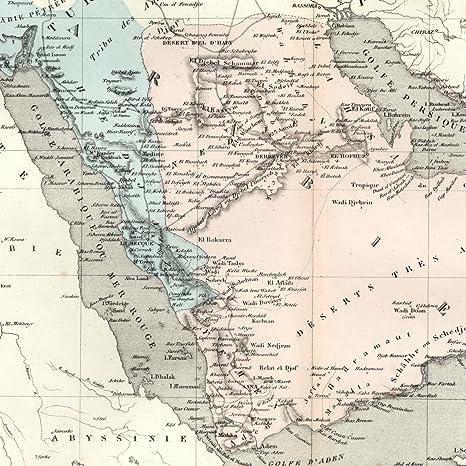 Amazon.com: Saudi Arabian peninsula 1855 Dufour scarce nice old map ...