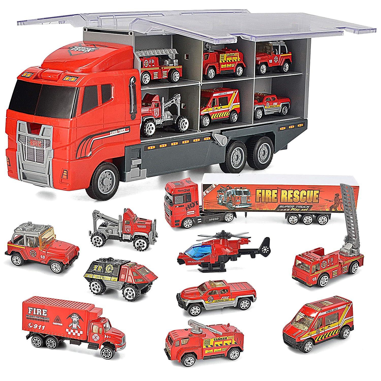 JOYIN 10 in 1 Die-cast Fire Engine Vehicle Mini Rescue Emergency Fire Truck Toy Set in Carrier Truck Joyin Inc