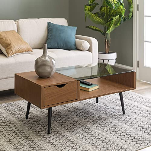 Walker Edison Mid Century Modern Glass Coffee Table with Drawer Living Room Accent Ottoman Storage Shelf, 42 Inch, Acorn