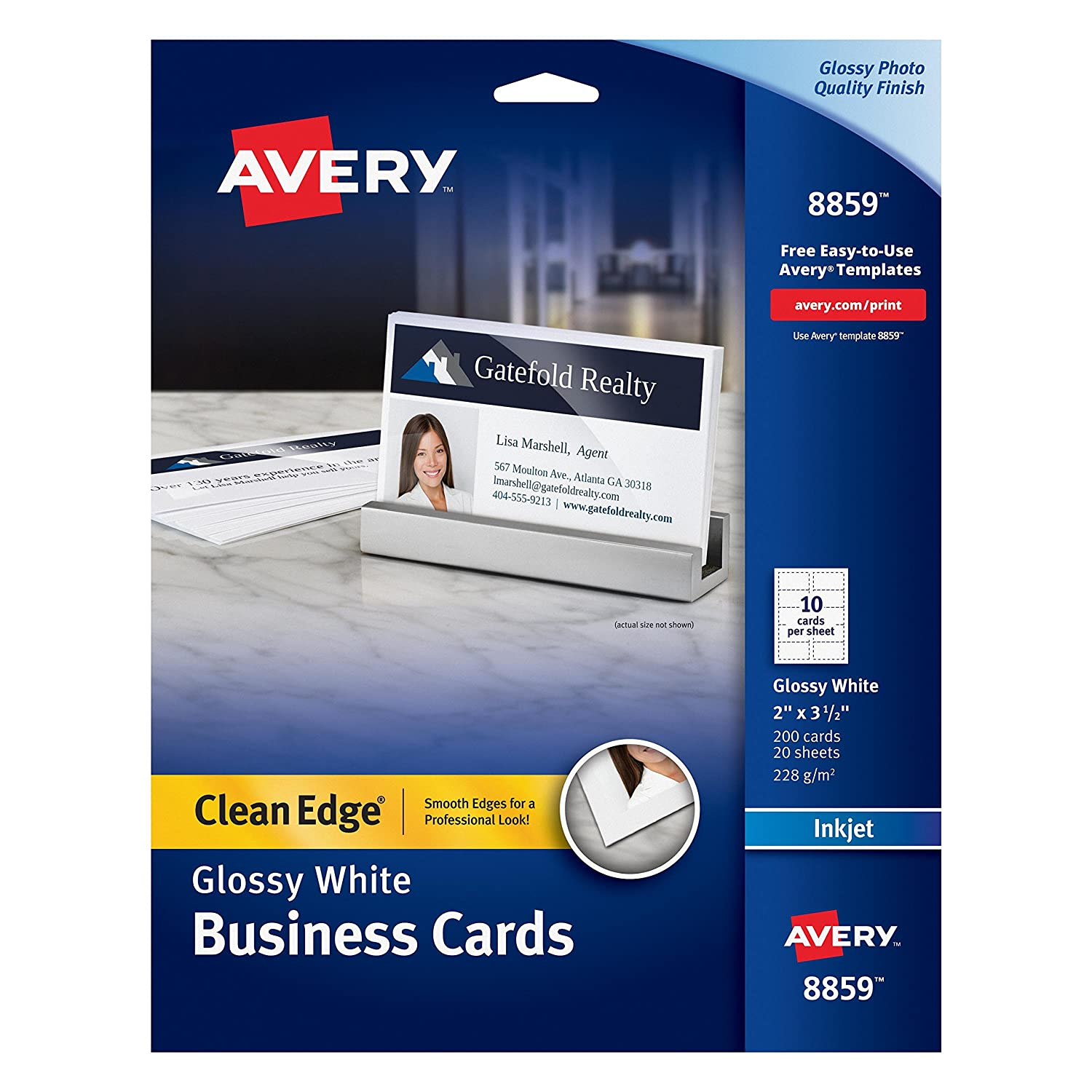 Amazon.com : Avery Ink Jet One-Side Printable Clean Edge Business ...