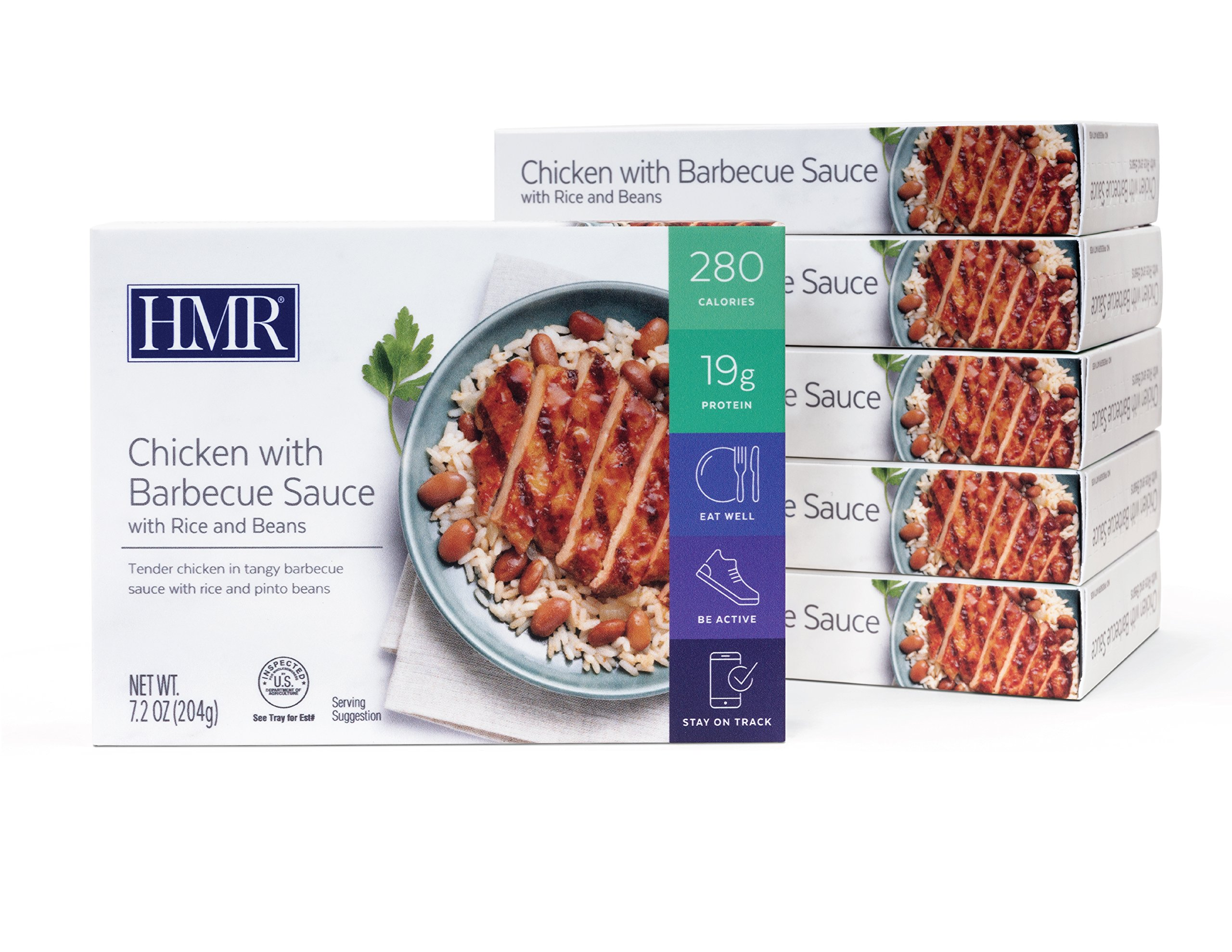 HMR Chicken with Barbecue Sauce with Rice and Beans Entree, 7.2 oz. Servings, 6 Count by HMR