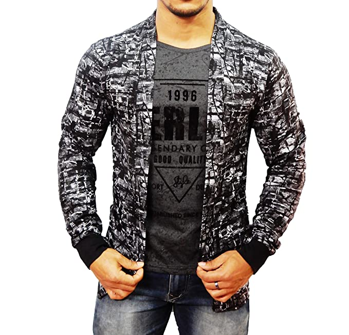 18ca0105141c17 SDS Fashion Boy s Full Sleeve Cotton Grey Printed T.Shirt with Printed  Jacket Shrug and Black Ribs Look Smart and Comfortable for Any Casual and  Festive ...
