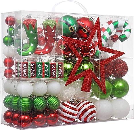 Victors Workshop 100Pcs Bolas de Navidad, Adornos de Navidad para Arbol Tema Elfo Setl, Decoración de Bolas Navideños Plástico de Rojo Blanco Verde, Regalos de Colgantes de Navidad (Deleitoso): Amazon.es: Hogar