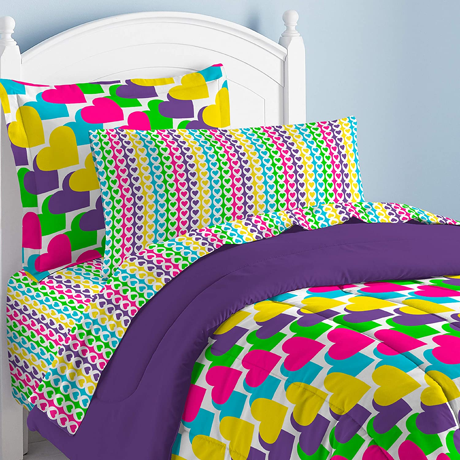dream FACTORY Casual Rainbow Hearts Comforter Set Multicolor CHF Industries 2A850601YL Twin