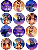 "Aladdin Movie Stickers, Large 2.5"" Round Circle DIY Stickers to Place onto Party Favor Bags, Cards, Boxes or Containers -12 pcs Alladin Princess Jasmine Jafar Genie Magic Lamp"