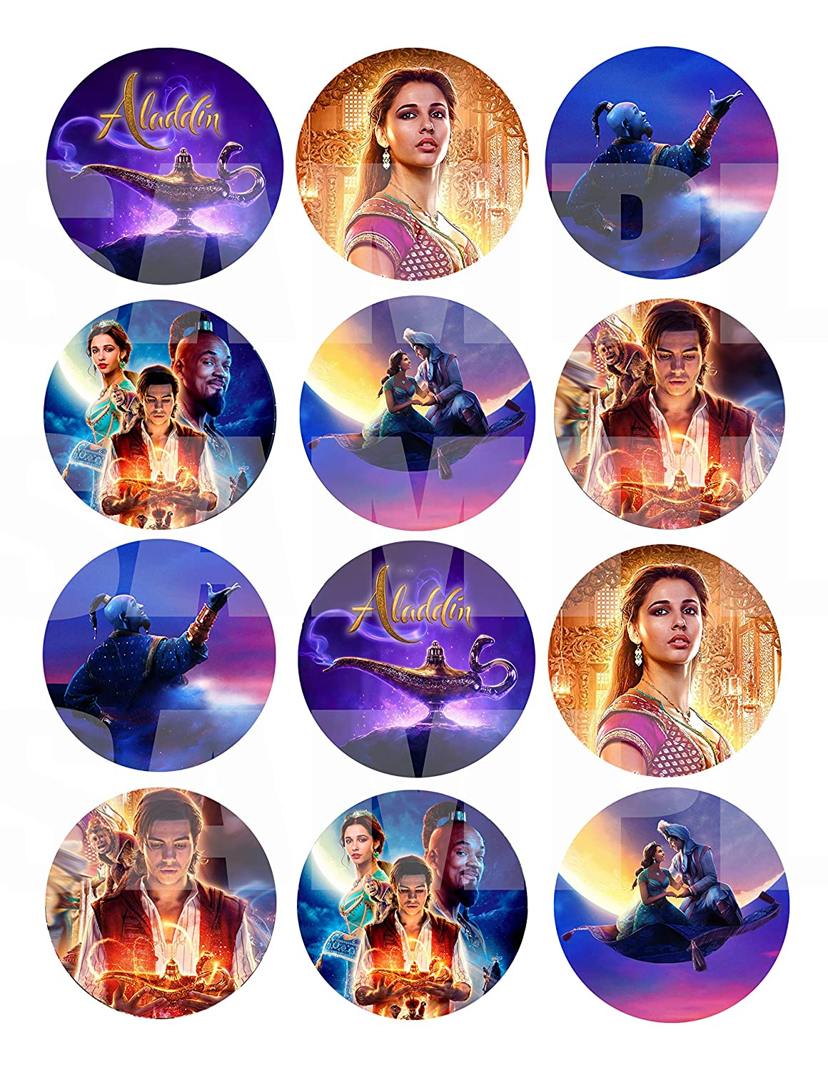 """Cards Large 2.5/"""" Round Circle DIY Stickers to Place onto Party Favor Bags Aladdin Movie Stickers Boxes or Containers -12 pcs Alladin Princess Jasmine Jafar Genie Magic Lamp"""