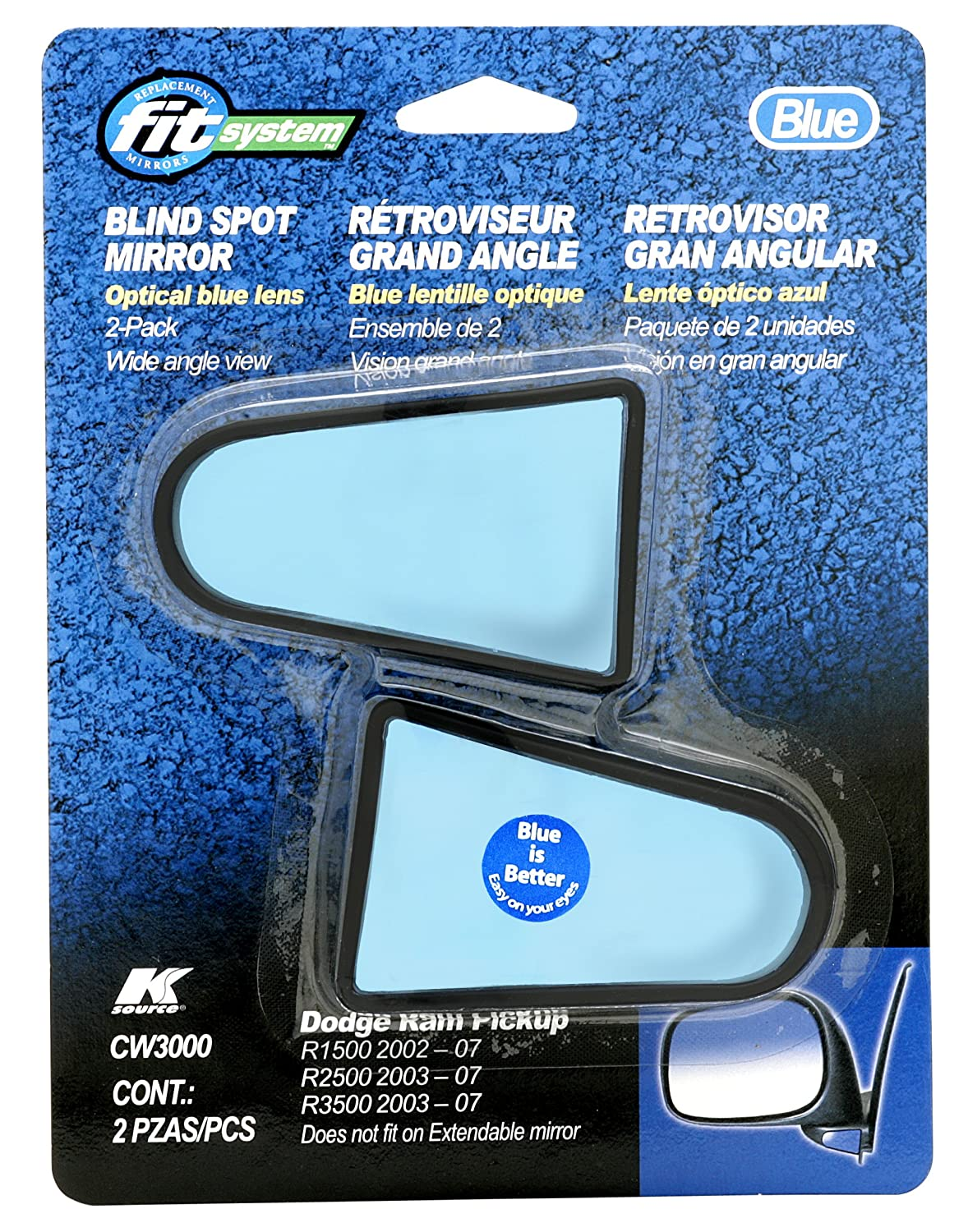 Fit System CW3000 Custom Spot Mirror with Optical Blue Lens, Pair