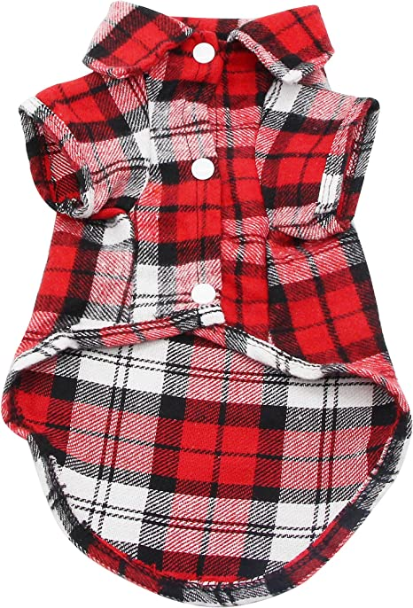YAODHAOD Camisa Cuadros para Perros, Camisa A Cuadros de Moda para Mascotas Ropa para Perros, Camisa A Cuadros para Gatos Suave y Cómoda (L-para Gatos ...