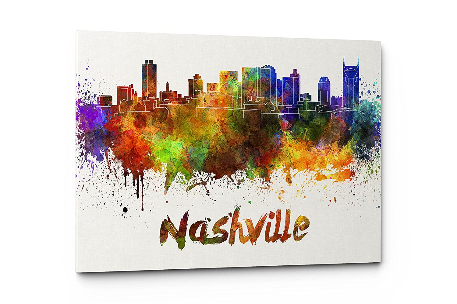 Qutenest Watercolor Nashville City Skyline Canvas Wall Art Prints, Modern Abstract Cityscape Wall Art Print, Gallery Wrapped Giclee Canvas Art, Home Decor, Office Decor - Ready to Hang (Nashville)