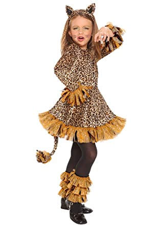 962b38c5205a Lovely Leopard Jungle Cheetah Animal Girls Halloween Costume Large ...