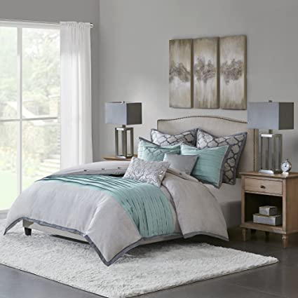 . Hampton Hill Tranquility King Size Bed Comforter Duvet 2 In 1 Set Bed In A  Bag   Teal Grey   Pieced   9 Piece Bedding Sets   Ultra Soft Microfiber