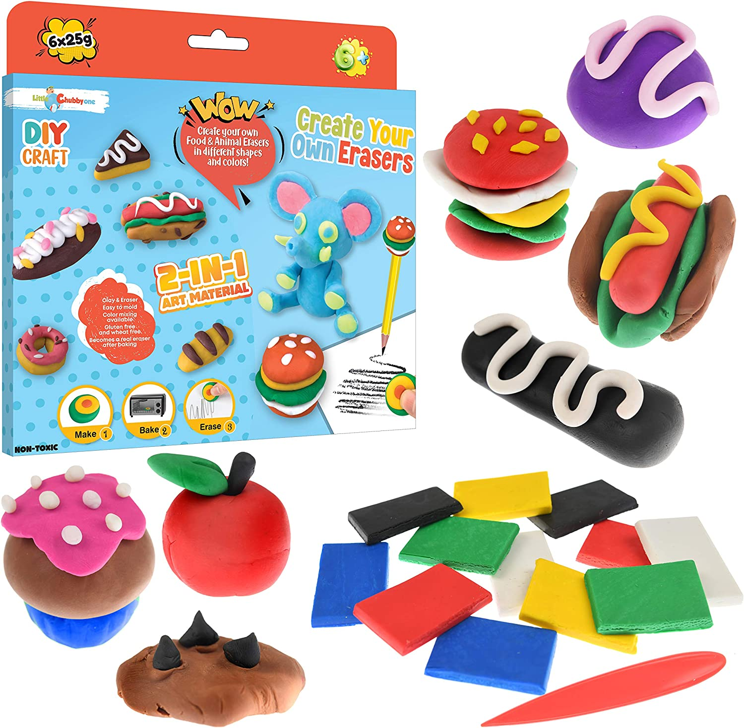 Little Chubby One Create Your Own Food Erasers - DIY Clay Craft Kit - Create Mini Food and Animal Erasers at Home Promotes Creativity and Imaginative Play Safe and Non-Toxic Perfect Gift for Kids