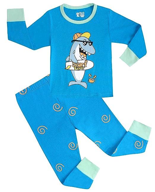 SHARK pijama para niños pijamas de algodón ropa 2 piezas para niños pantalones de tamaño 2