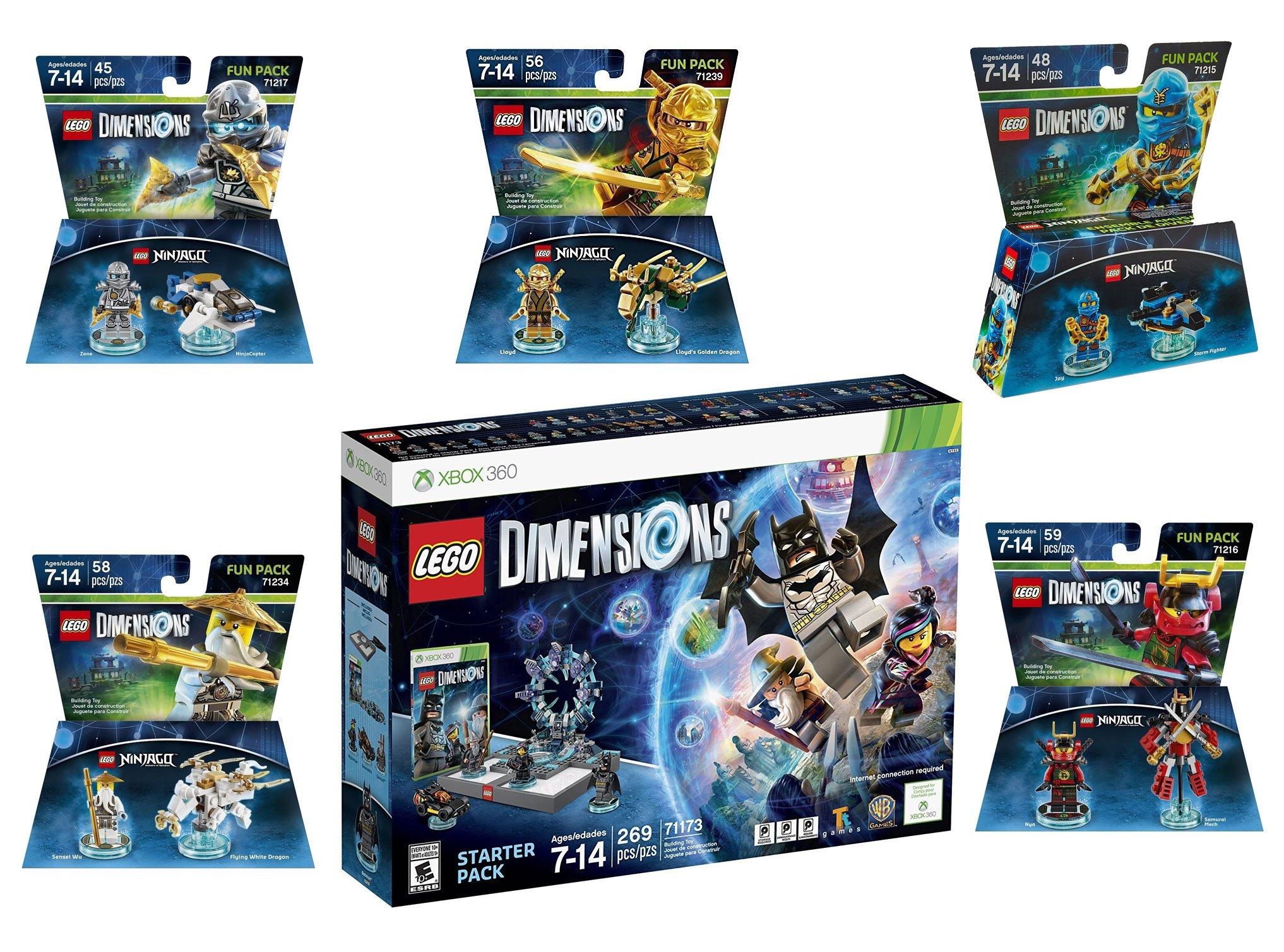 Lego Dimensions Ninjago Starter Pack + Jay + LLoyd + Nya + Zane + Sensei Wu Fun Packs for Xbox 360 Console