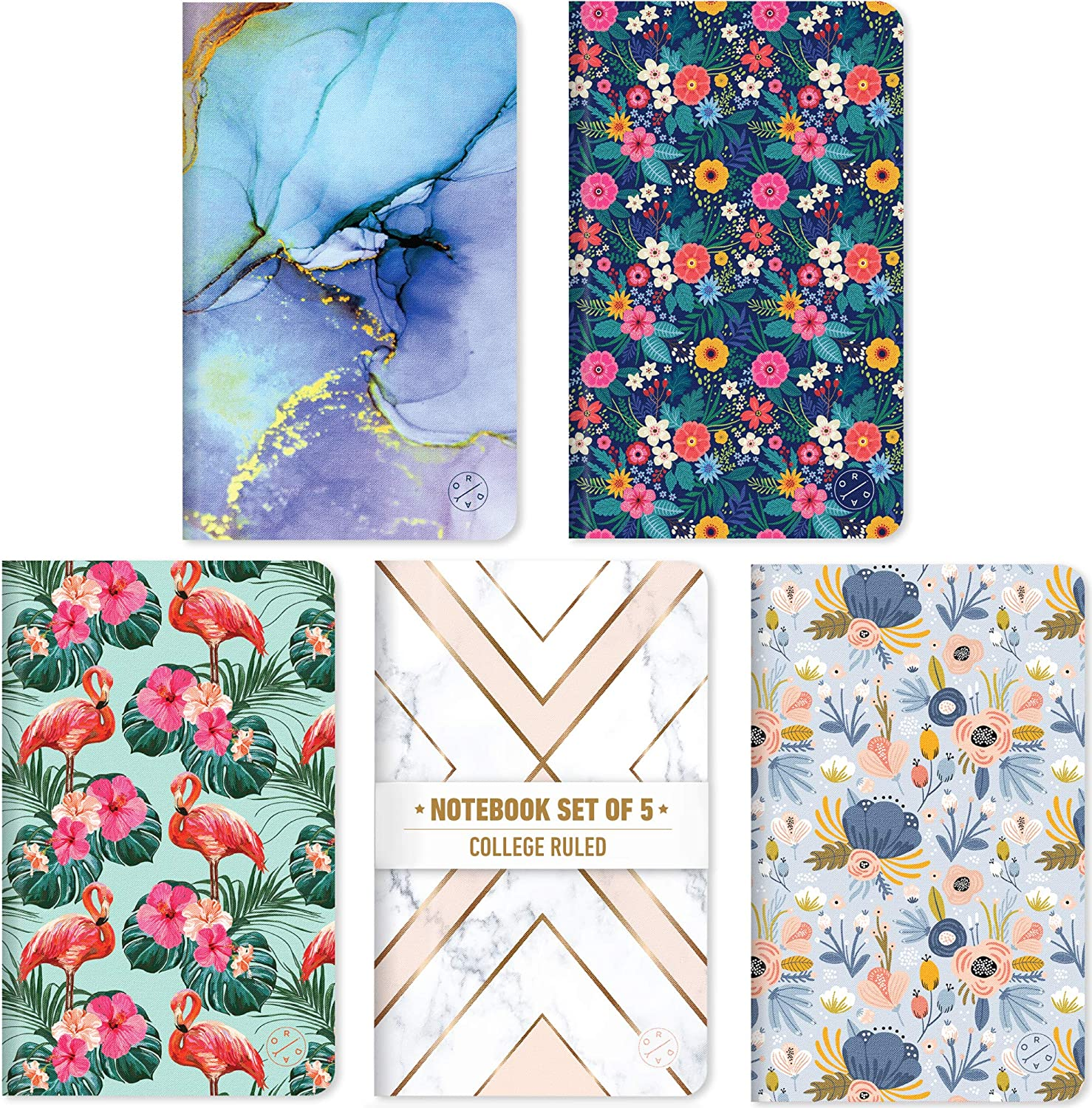 """Oriday Field Notebook Set of 5 - Ruled Subject Notebook, Pocket Journal, Diary, Travel Journal, Memo Notebook Sets For Women, Perfect For Gift (5""""x8"""", Lined, Assorted Patterns)"""