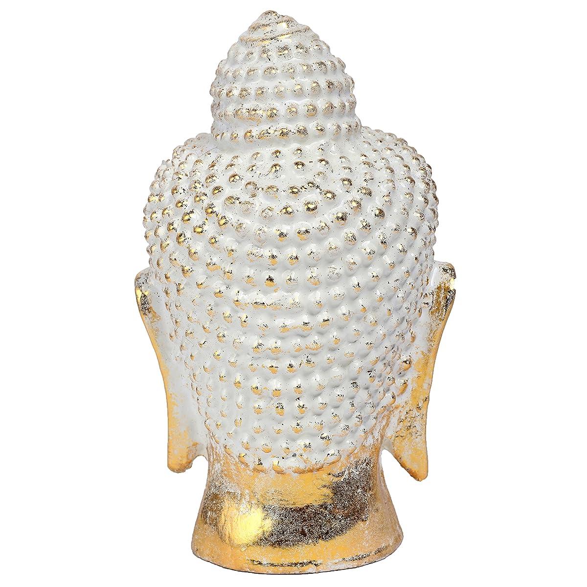MyGift 8-Inch Vintage Rustic Gold Resin Meditating Buddha Head Decorative Statue Sculpture