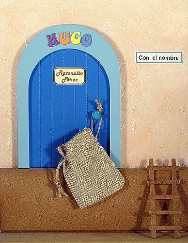 Puerta de la casa del Ratoncito Pérez, de madera y personalizable con nombre + escalera + bolsita tela