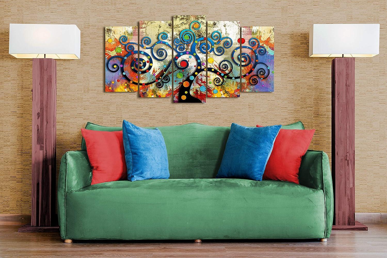 DEKOARTE 358 Cuadro Moderno en Lienzo, Estilo Abstracto árbol de la Vida Gustav Klimt de Colores, multicolor, 1 pieza (120x80x3cm)