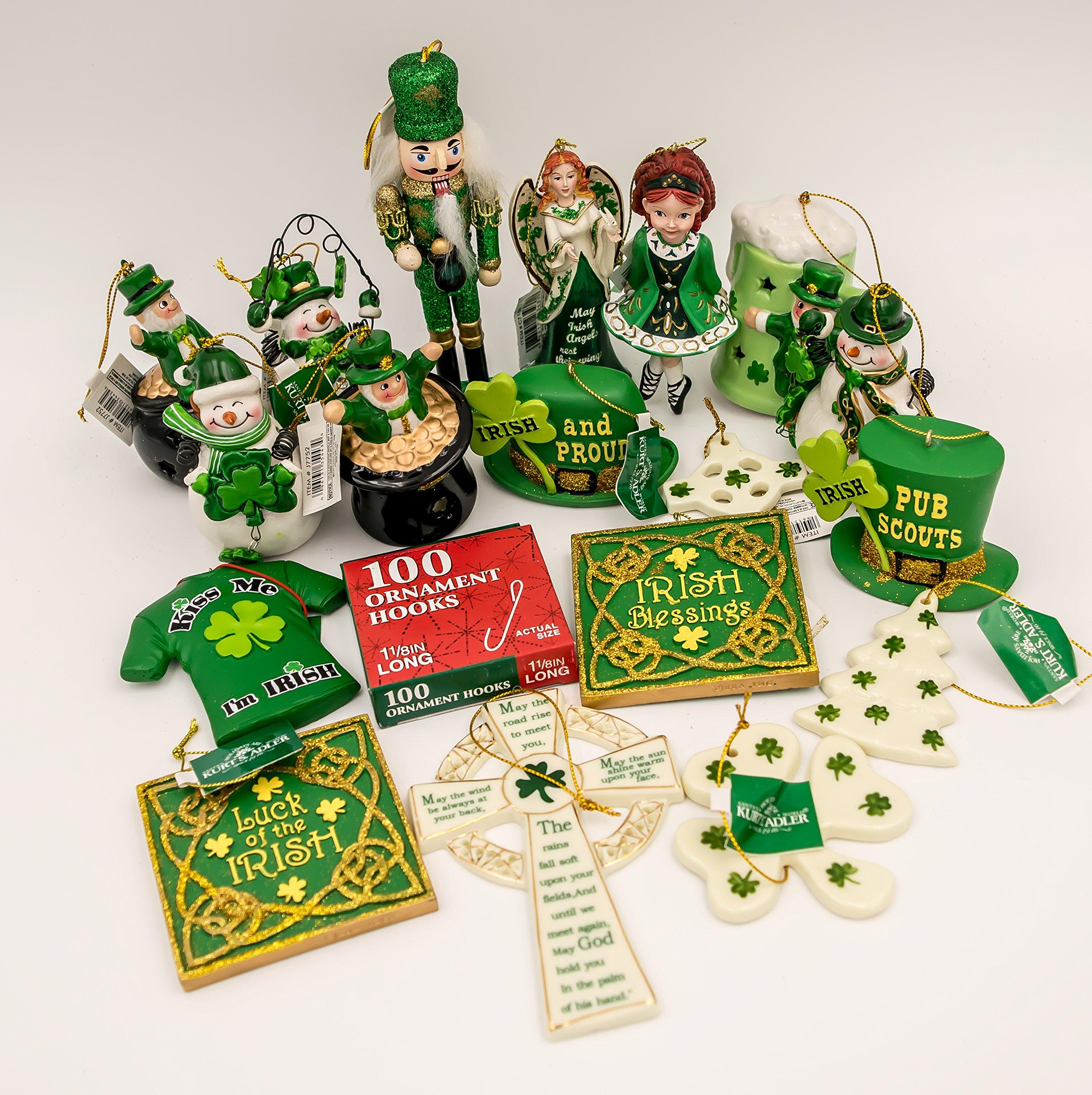 JZ Bundles Starter Set - Irish - Kurt Adler - 19-Piece Bundle - A Bundle of Christmas Ornaments Great Gift